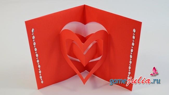 Как сделать 3д открытку с сердечками 40