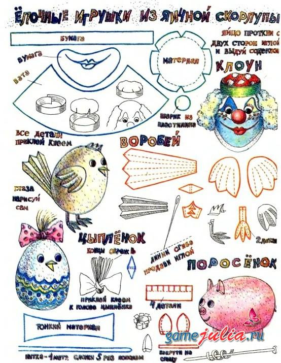 Лочные игрушки из яичной скорлупы - Поделки к праздникам