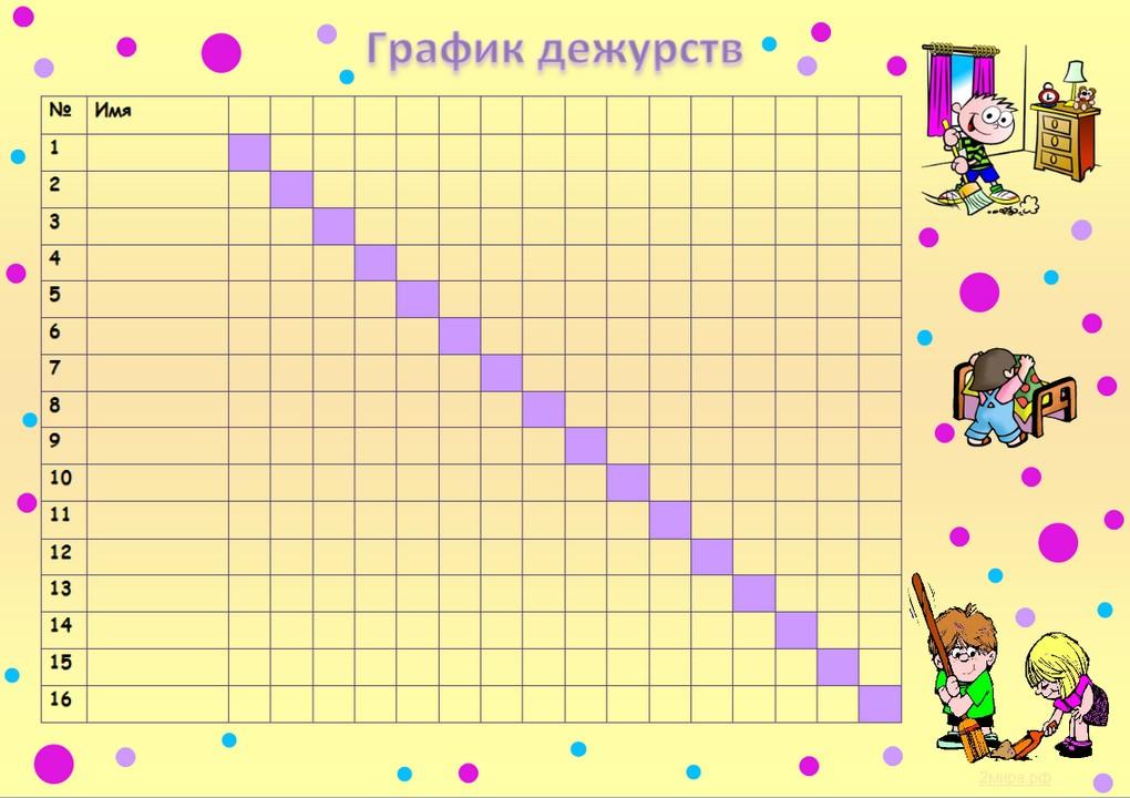 Скачать шаблон графика дежурств на месяц