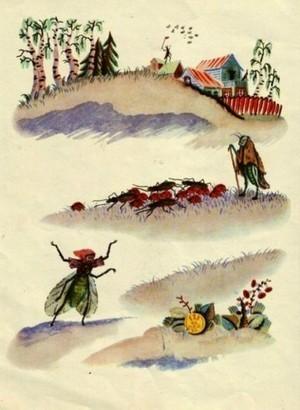 Муха цокотуха иллюстрации Конашевича
