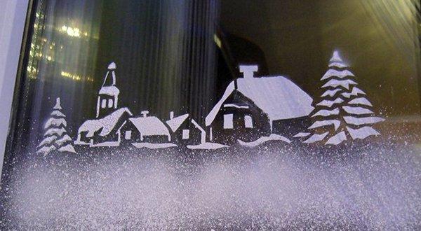 Снег на окнах рнисунки