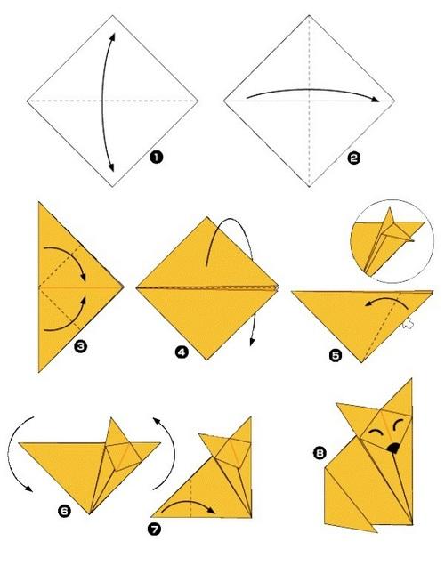 Схема оригами лиса для 1 класса