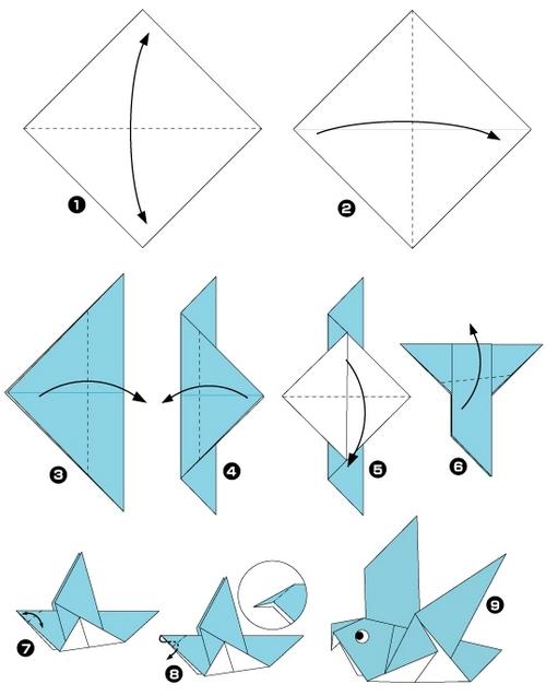 Схема оригами птица для 1 класса