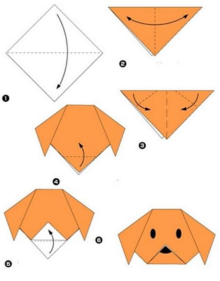 Схема оригами собака для 1 класса