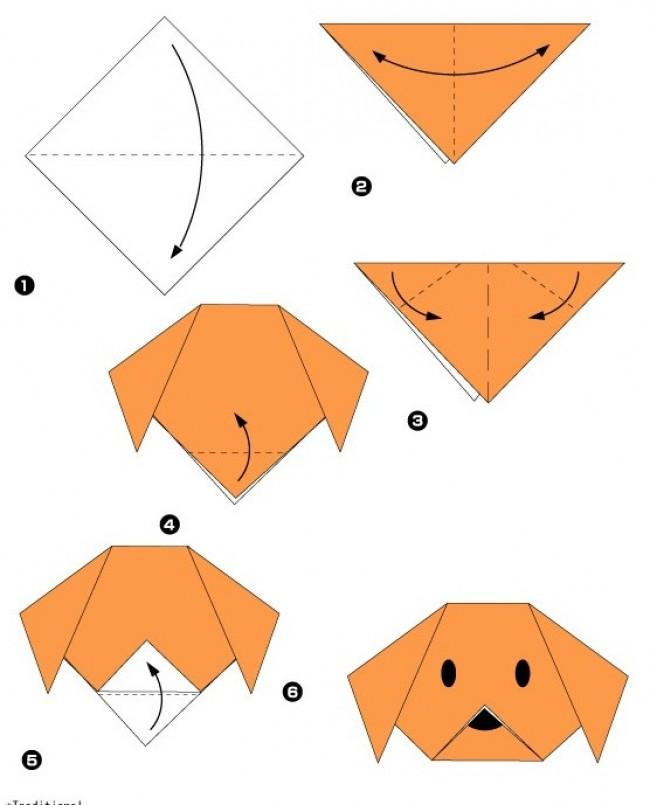 sobaka-origami(2) Простое оригами для детей 5 лет