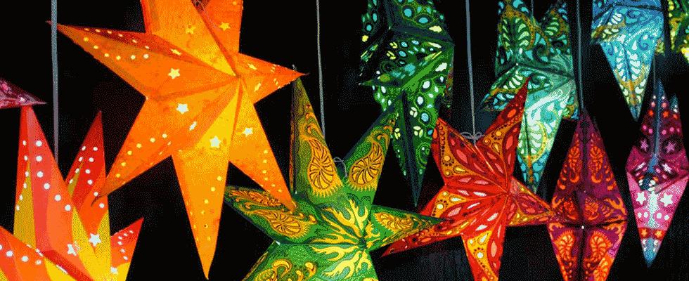 Звезды светятся из бумаги