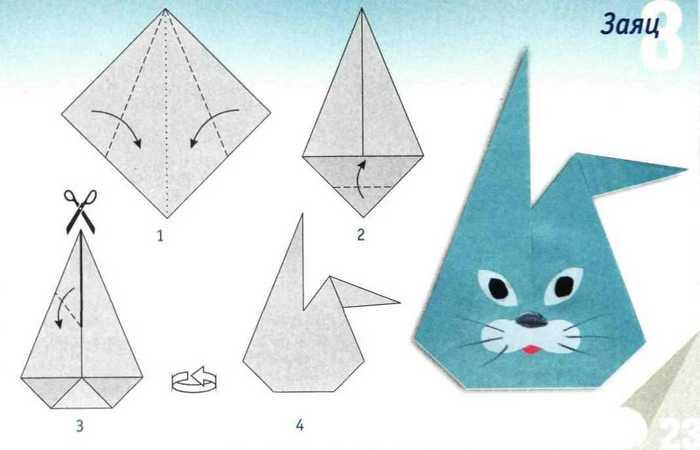 Оригами заяц схема для 1 класса